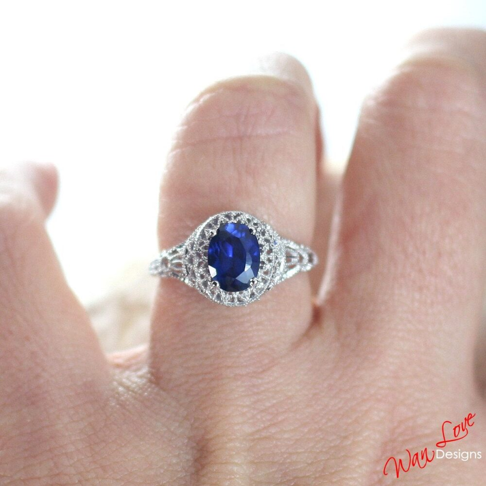 Sample Sale Ready To Ship-Blue Spinel Oval Filigree Milgrain Antique Vintage Engagement Ring, 1.5Ct, 8x6mm, Wedding, Anniversary Gift