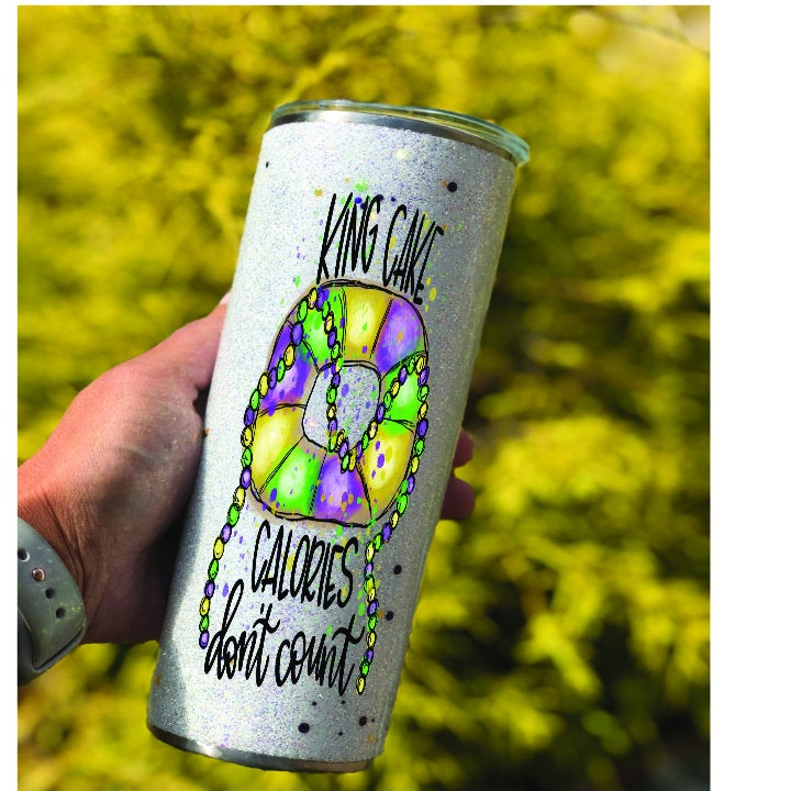 King Cake Calories Dont Count Mardi Gras Purple, Green Gold Glitter Double Walled Custom Name Tumbler | Fat Tuesday Tumbler