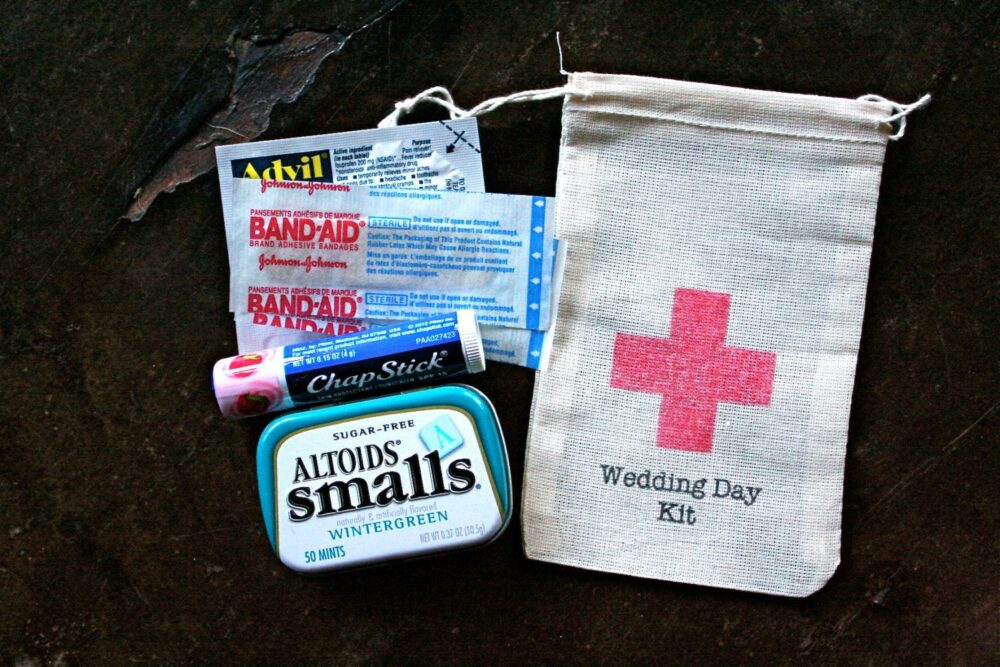Wedding Day Kit Favor Bags - Diy Kits For Guests, Bridesmaids, Groomsmen, Favor Bags With Red Cross, Hotel Welcome Bag, Cotton Bag