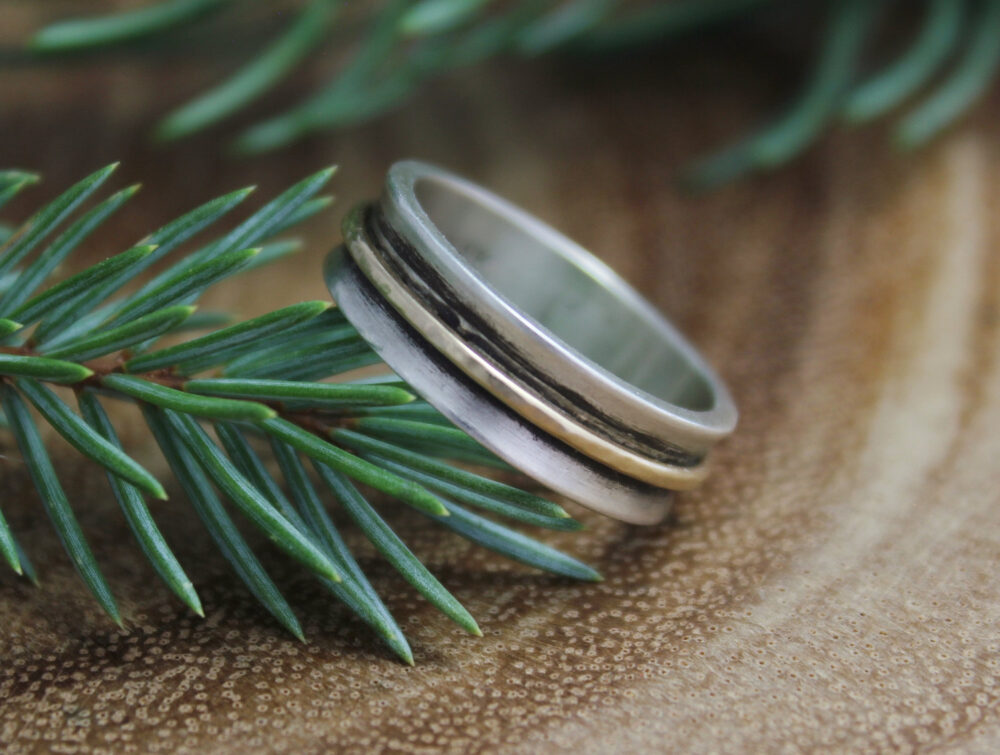 Sterling Silver & 14K Yellow Gold Band - Two Tone 5.5mm Ring Wedding Oxidized Stacking Ready To Ship Sz 7