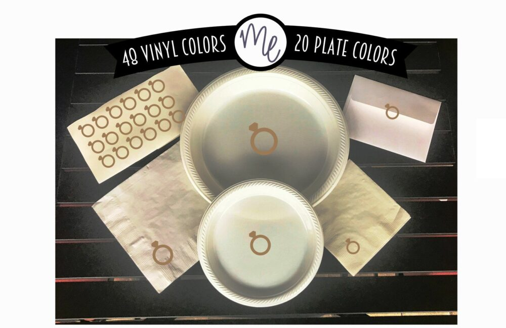 Engagement Party Tableware Ring Plates Bachelorette White & Gold Choose Colors Wedding Diamond