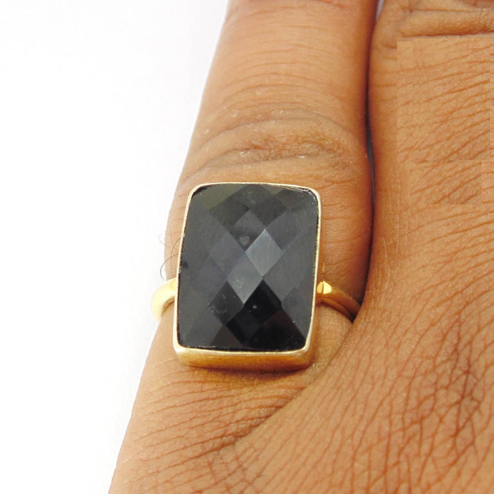 Handcrafted Ring, Black Onyx Bezel Set 18K Gold Plated Faceted Gemstone Brass Stacking Unique Gift For Her