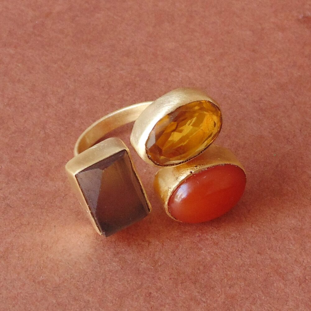 Family Birthstone Ring, Dainty Gemstone Smoky Quartz Gold Vermeil Citrine Large Cocktail Red Onyx Ring