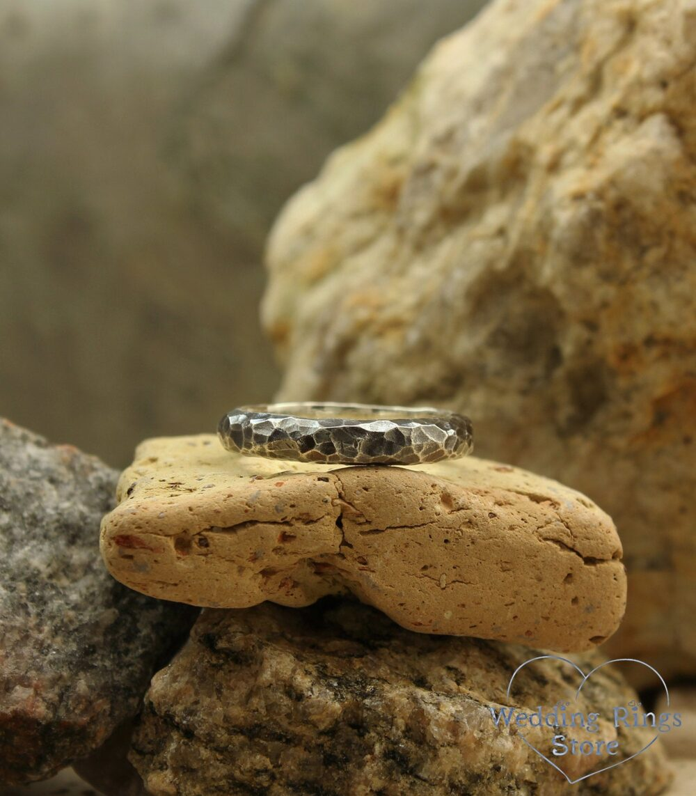 Hammered Wedding Band in Silver, Rustic Style Men's Ring, Unique Rocky Band, Wild Nature Unusual Sterling Silver Ring