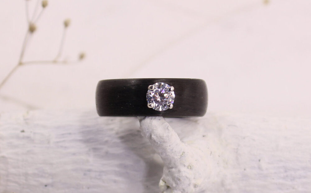 Wedding Band For Women Cubic Zirconia Carbon Ring Minimalist Engagement Durable Rings, To Order