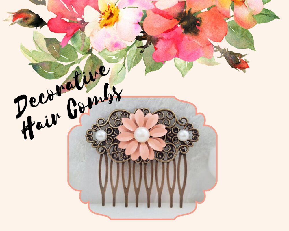 Living Coral Hairpin, Peach Flower Hair Comb, Pink Daisy Floral Clip, Ivory Pearl Side Slide For Buns, Hairpiece H2067