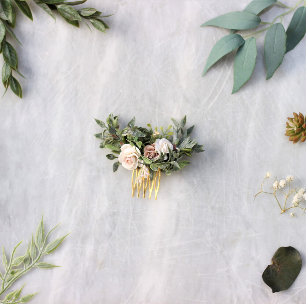 Eucalyptus Flower Comb Wedding, White Floral Comb, Bridal Hair Gold