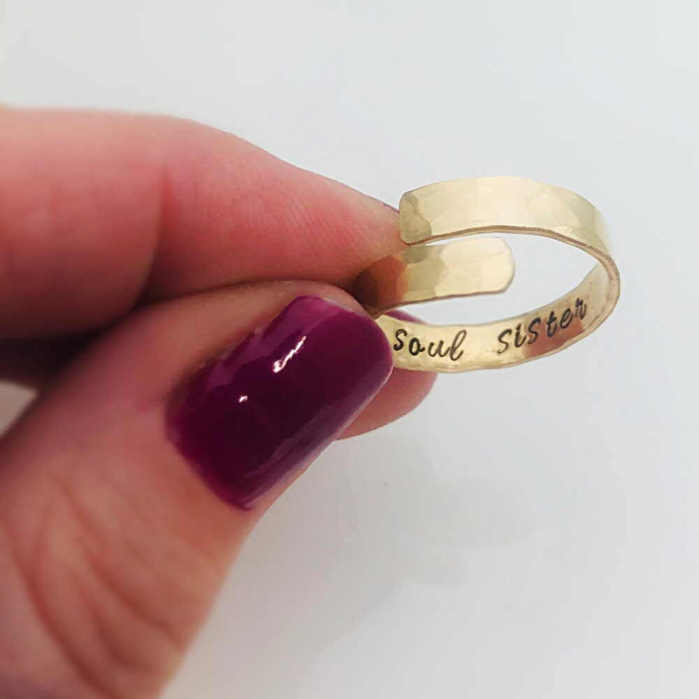 Adjustable Ring - Hidden Message Gift For Best Friend, Soul Sister Ring, Friend
