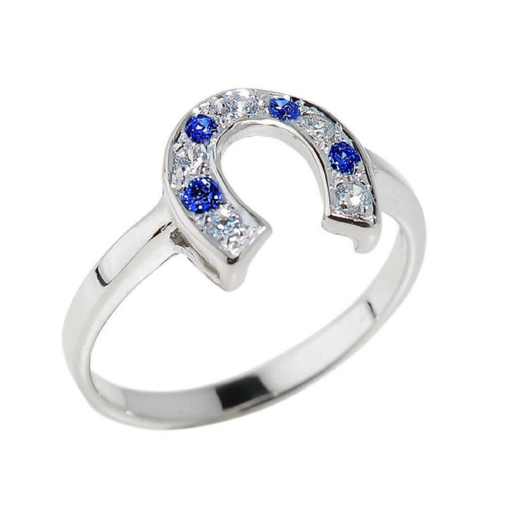 Horseshoe Ring With Blue & White Cubic Zirconia • Sterling Silver & Cz Lucky