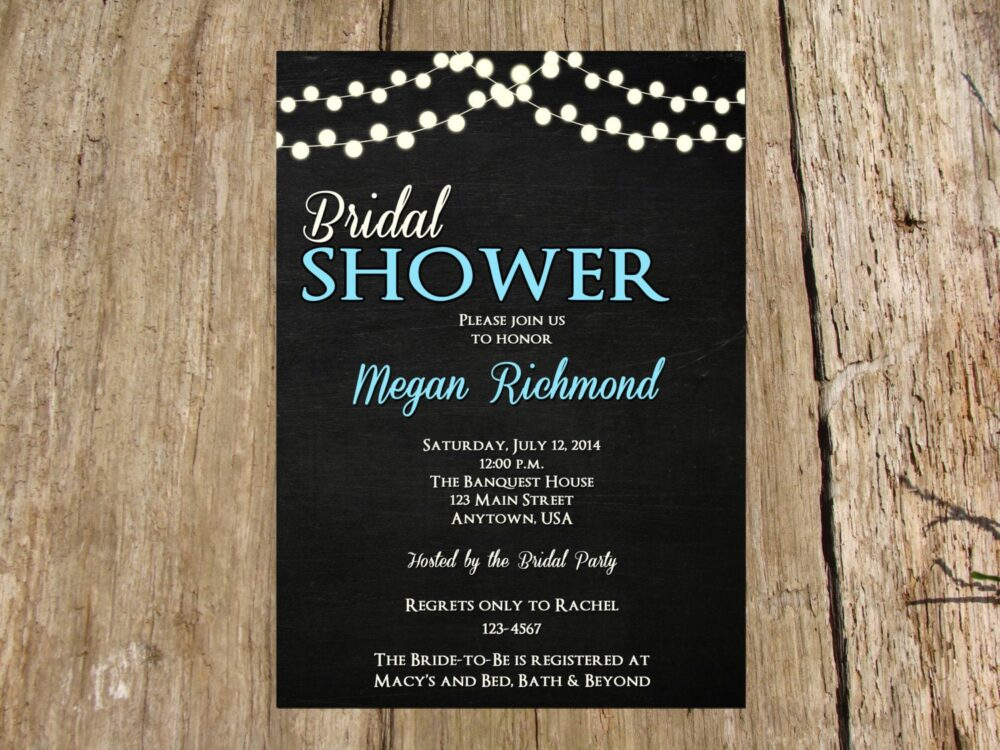 Fairy Lights Chalkboard Invitation