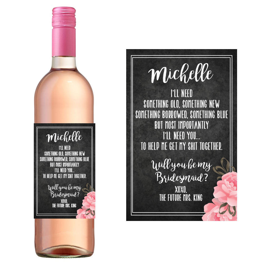 Black Floral Bridesmaid Wine Bottle Label/Personalized Wedding Party Invites Funny Maid Of Honor Ask Design Stickers