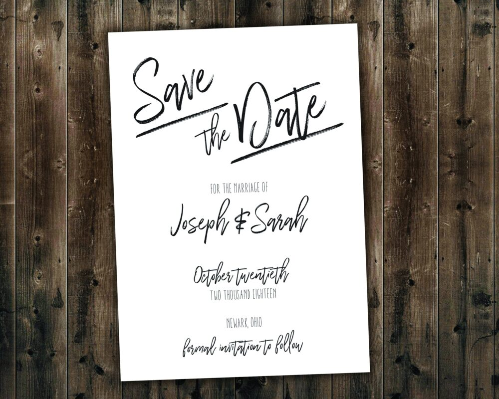 Simple Black & White Wedding Save The Date Set Printed, Always Forever, Invitation Suite, Elegant, Formal, Classy, Classic
