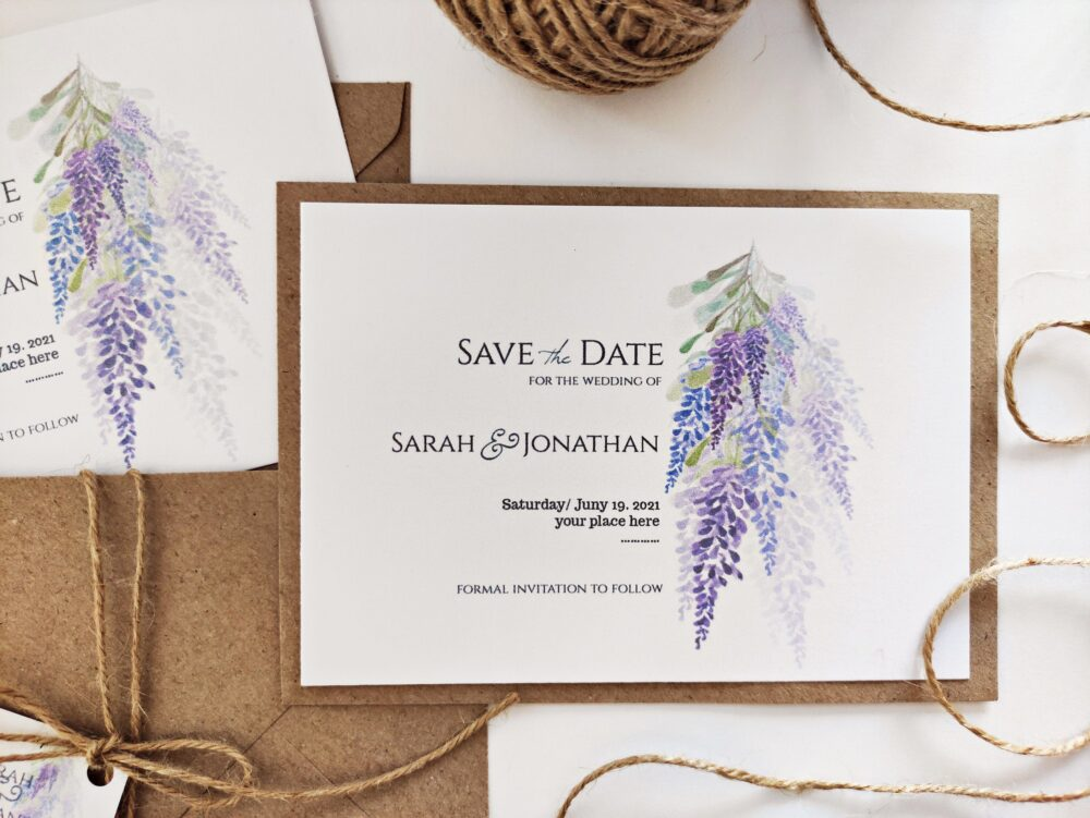 Lilac Floral Save The Date Cards, Elegant Invitations, Wedding Announcement, Simple Card, Shimmery Pearly Paper