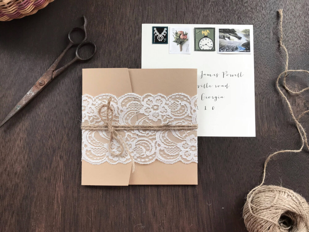 Lace Wedding Invitation Set, Rustic Invitation, Pocket Elegant Romantic, Glam