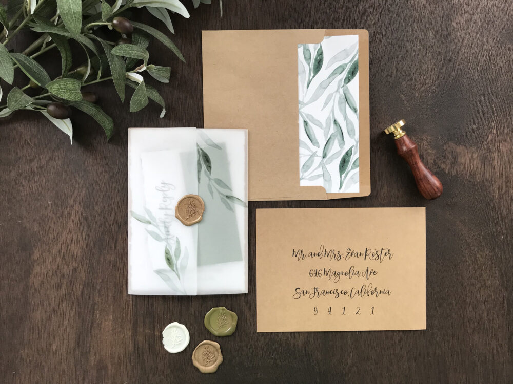 Vellum Wedding Invitation Set With Wax Seal, Rustic Elegant Greenery, Deckled Edge, Hand Torn, Rough Torn Calligrapghy, Vintage