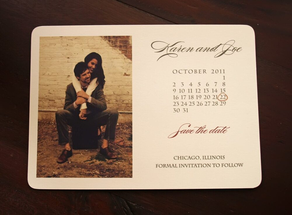 Save The Date Calendar Wedding Invitation - Rustic Photo Card