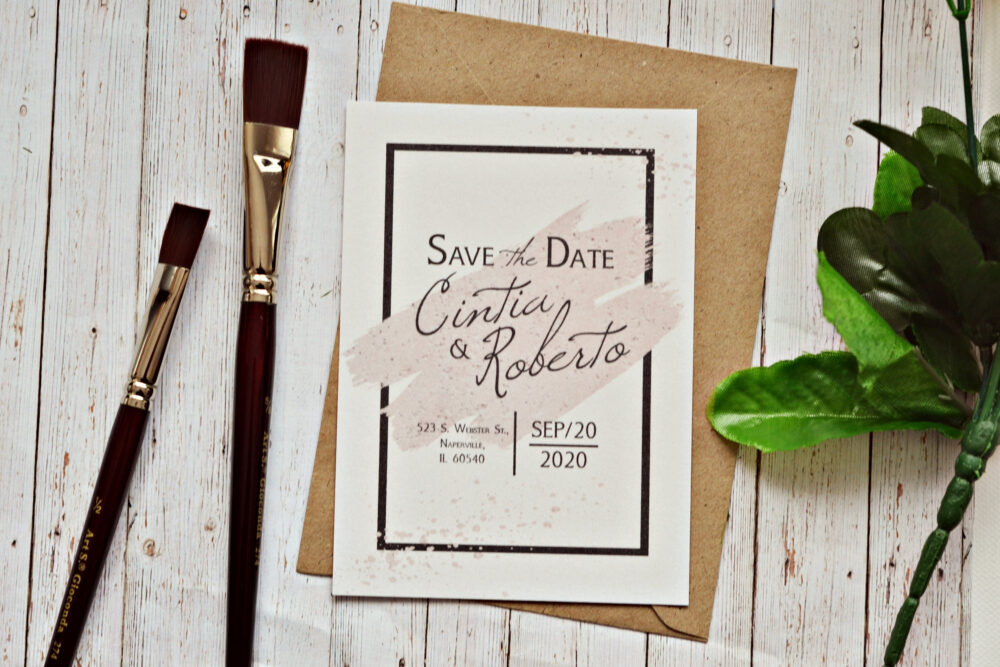 Save The Date Postcard & Envelope, Simple Wedding Announcement, Calligraphy Pack, Modern Art Card