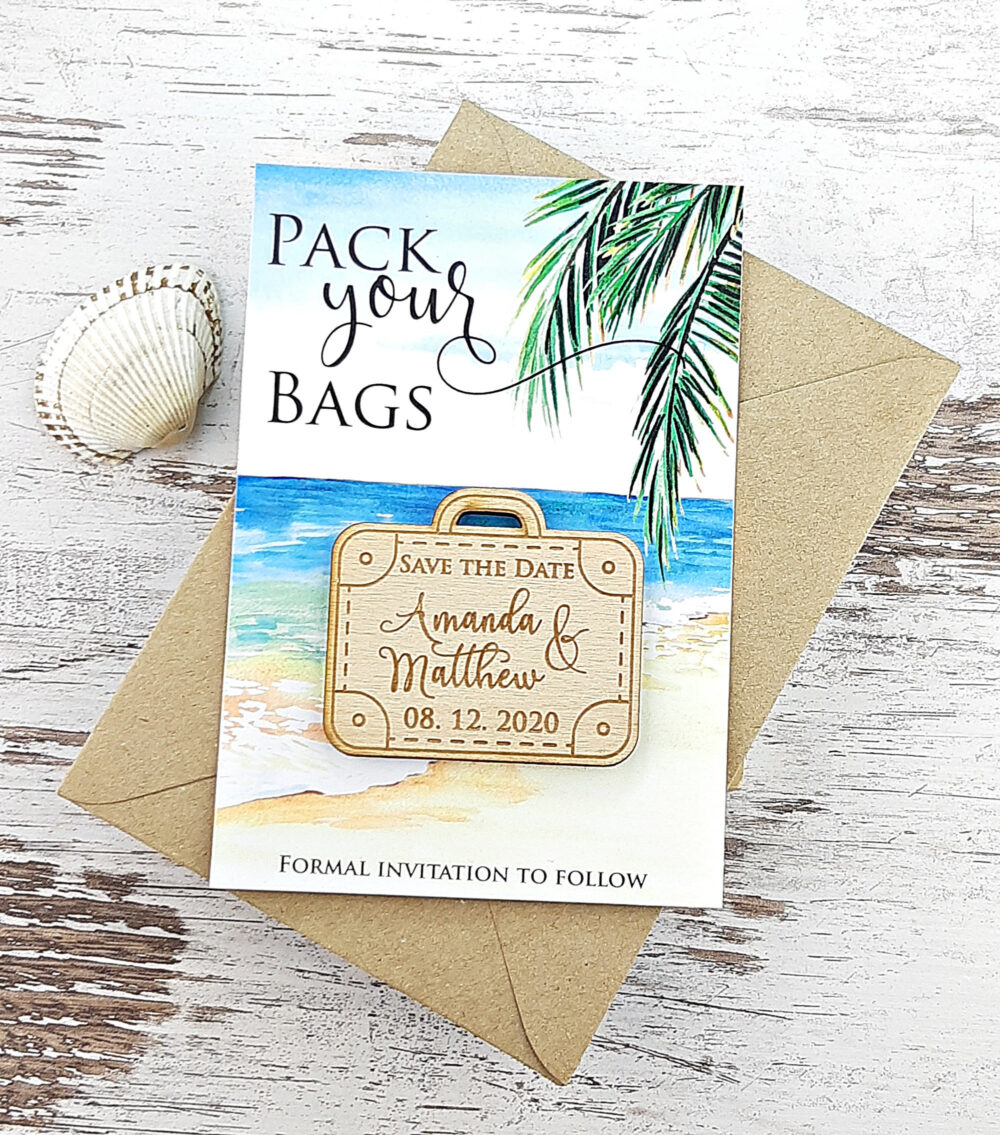 Pack Your Bag Suitcase Save The Date Magnet, Wood Wedding Beach The Date, Palm Tree Date, Destination Wedding, Tropical