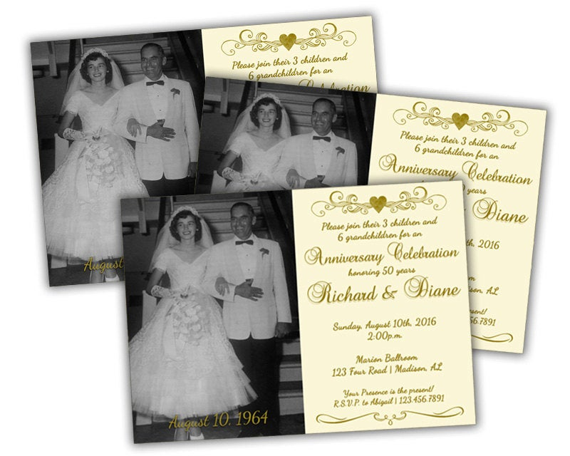 50Th Golden Anniversary Party Invitation - Vow Renewal Wedding Invite Gold Photo Heart Ivory Invitations