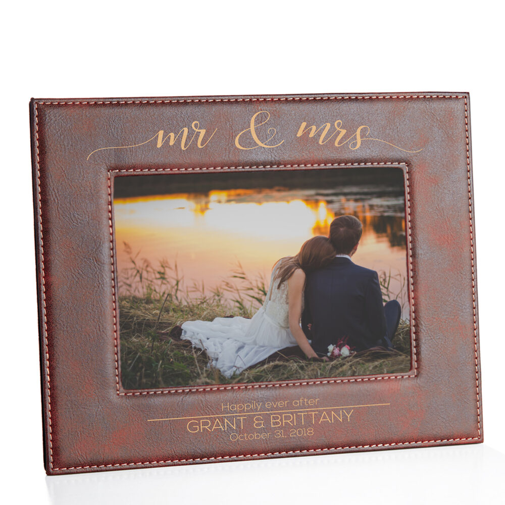 Mr. & Mrs. Picture Frame For Wedding | Personalized Bridal Shower Gift Idea Inexpensive Bride Groom