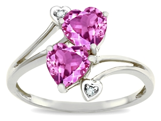 Tommaso Design™ Heart Shape 6 mm Created Pink Sapphire Ring