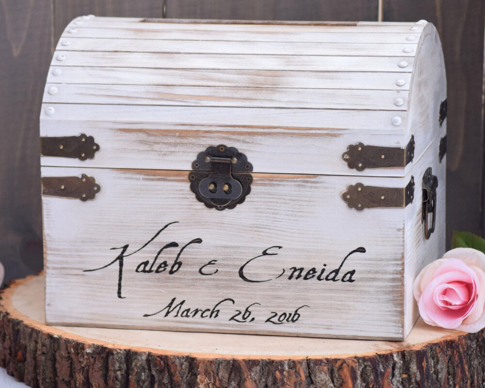 White Distressed Wooden Card Box With Slit Rustic Wedding - Shabby Chic Holder Keepsake