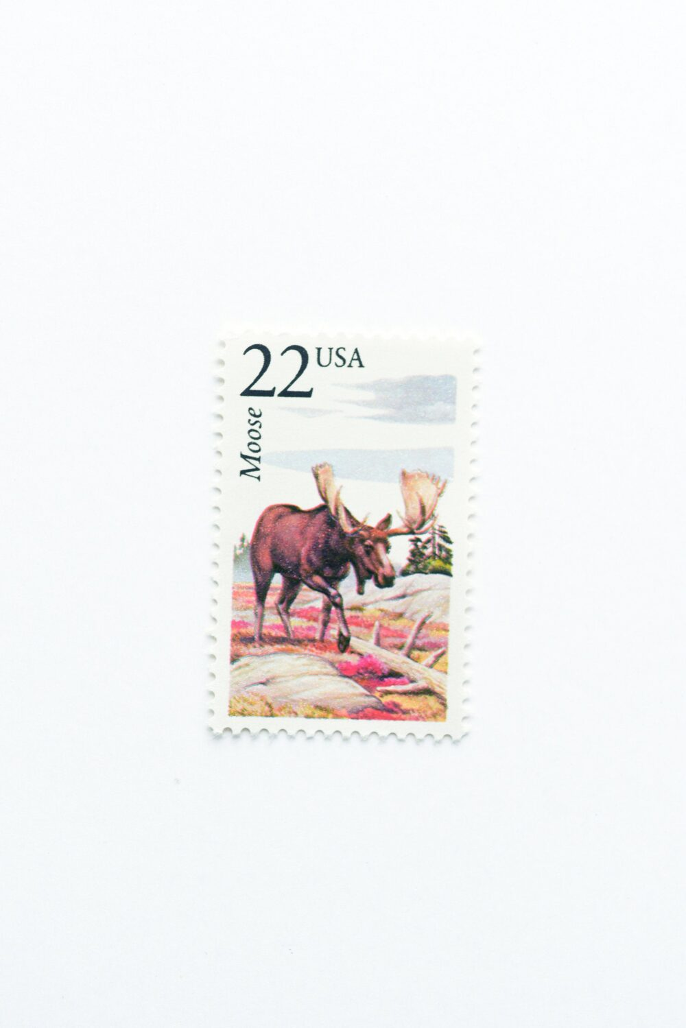5 Moose Postage Stamps // Unused 22 Cent Stamp Mountain Wedding Postage Vintage North American Wildlife