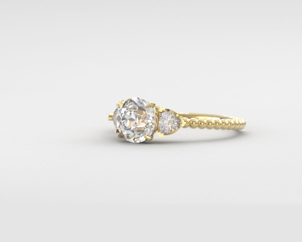 Forever One Moissanite Ring, Oec Moissanite Engagement Old European Cut 3 Stone 14K 18K Gold, Charles & Colvard