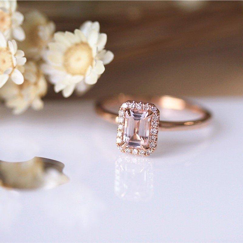 Simple Style Rose Gold Engagement Ring, 46mm Emerald Cut Natural Pink Morganite Bridal, Diamond Halo Petite Stackable Wedding Ring