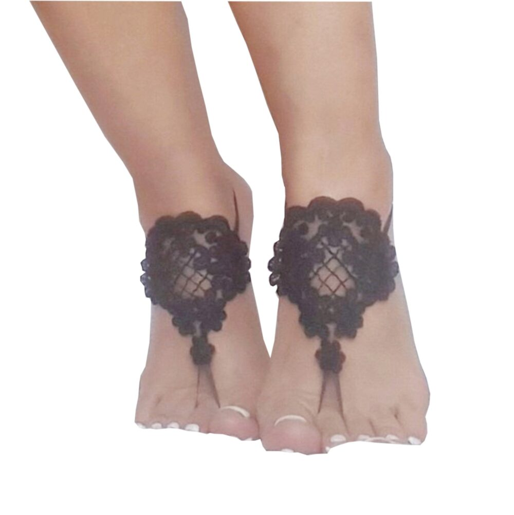 Black Gothic Lace Barefoot Sandals, Steampunk Accessories, Foot Accessory, Beach Shoes, Party, Footwear, Black Sandals