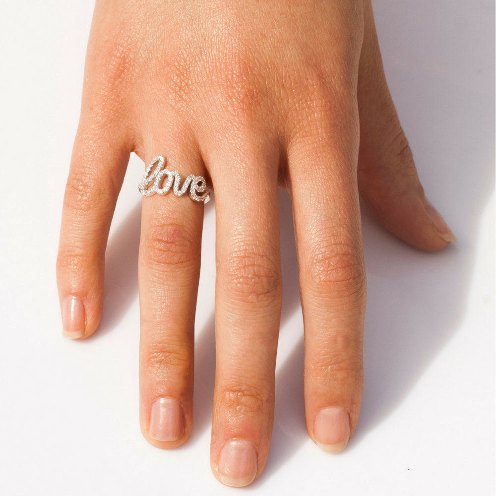 Love Ring, Diamond Letters, Lovers Gift For Loved One, Mother 14K Gold, 18K Daughter Her