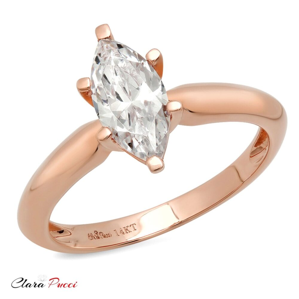 Promise Love Rings, Rings Promise, Ring 1.0 Ct Moissanite Marquise Cut Solitaire Engagement Wedding 14K Rose Gold