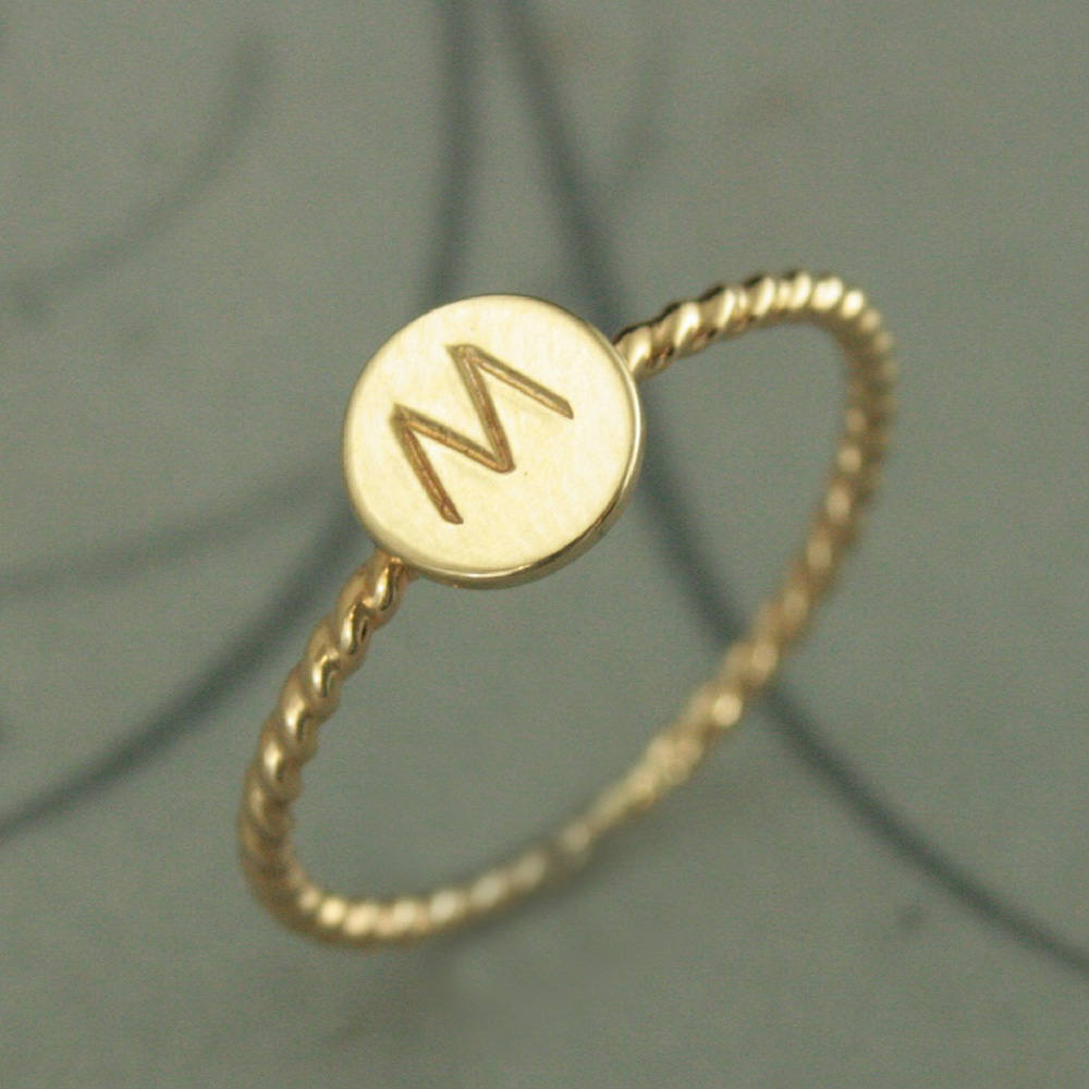 Monogram Ring~Initial Ring~Personalized Jewelry~Personalized Ring~Custom Ring~stamped Initial~Gift For Her~Solid Gold Initial Ring~Rope Ring