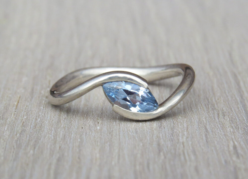 Marquise Engagement Ring, Sky Blue Topaz 14K Gold Solitaire Alternative Gemstone Jewelry