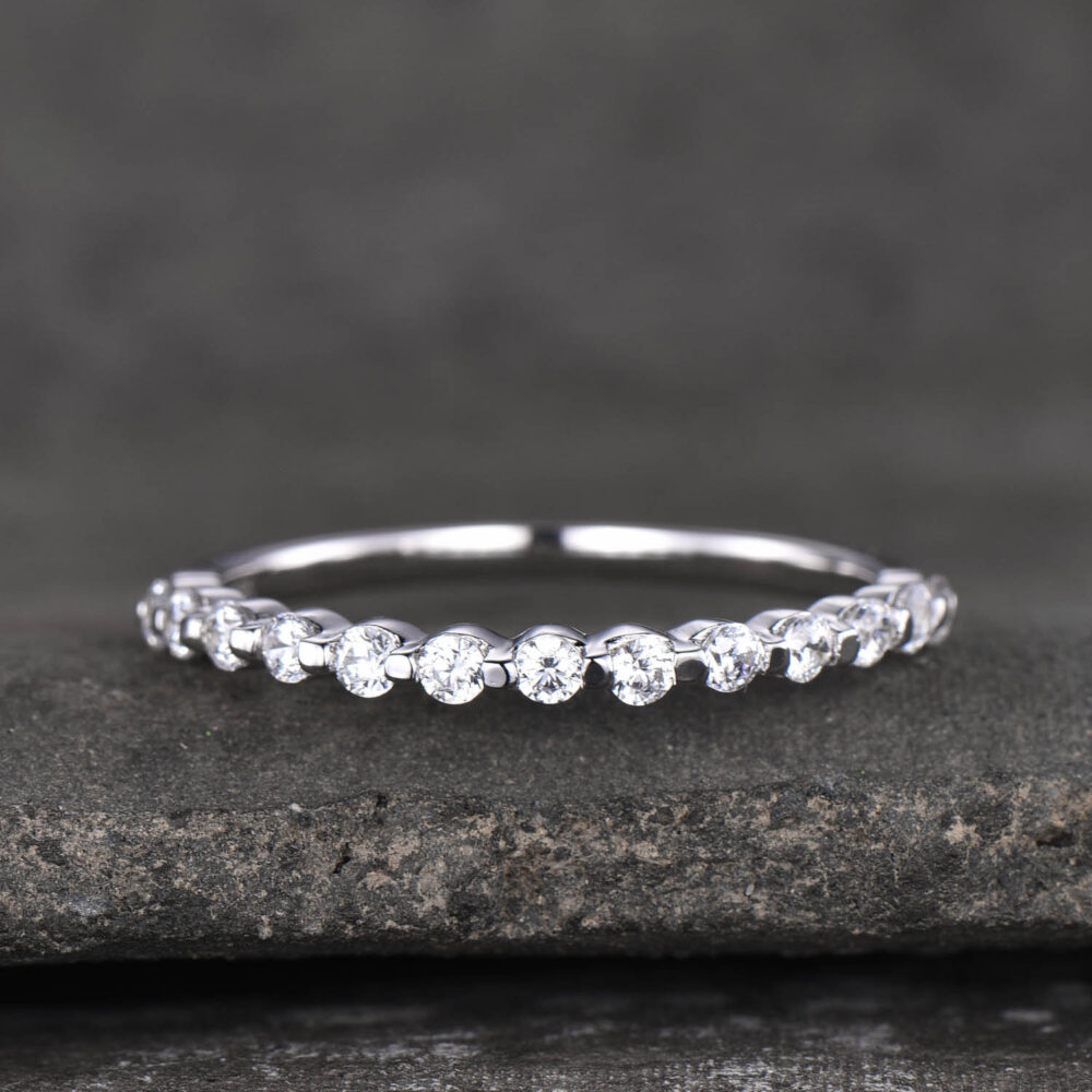Half Eternity Ring For Women, Cz Wedding Band, 925 Sterling Silver Ring, Minimalist Stacking Anniversary Gift