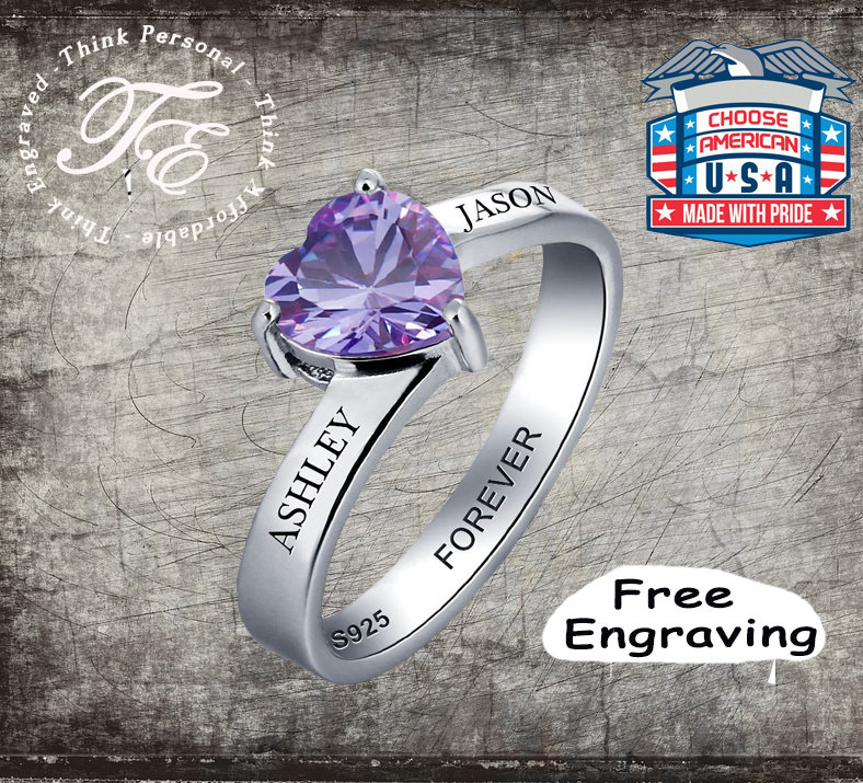 Couples Promise Ring For Her Sterling Silver Choice Of Heart Gems Engraved