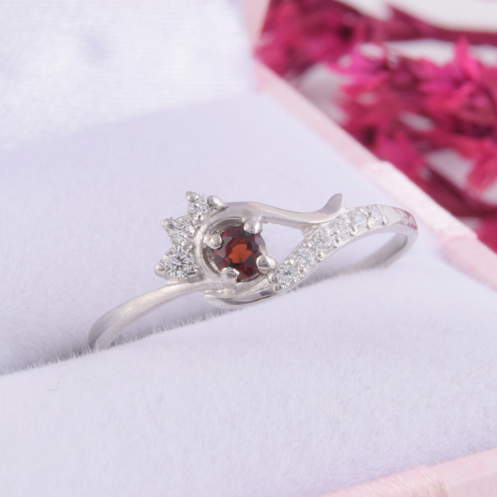 sterling Silver Garnet Promise Ring, Womens Unique Dainty Delicate Ring