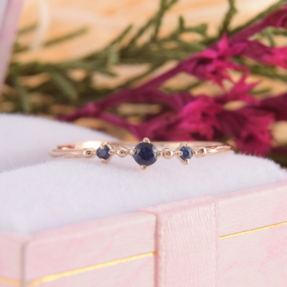 Womens Sapphire Promise Ring, Gold 3 Stone Small Simple Ring For Her