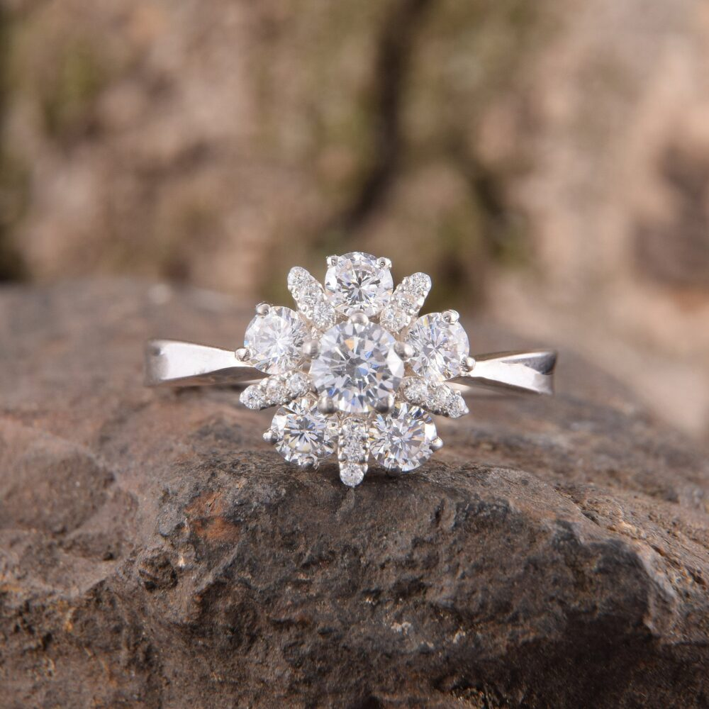 Art Deco Engagement Ring, Halo Women Promise Promise Ring For Her, Unique Silver