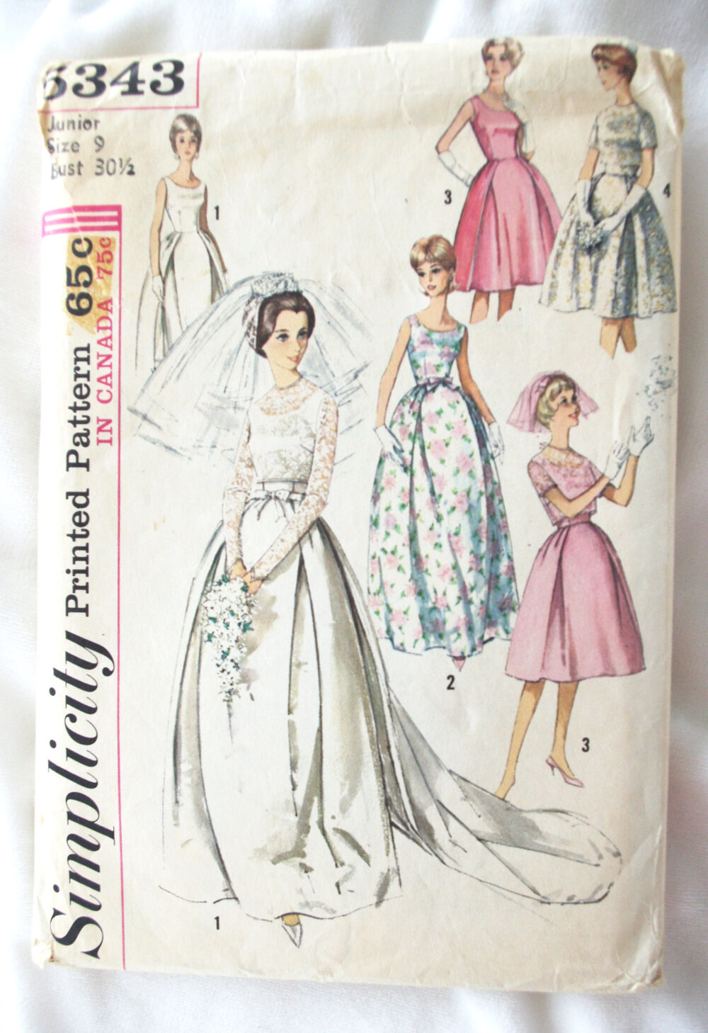 Vintage Wedding/Bridesmaid Dress Pattern Simplicity #5343 1963 1960S Sz 9 Unused
