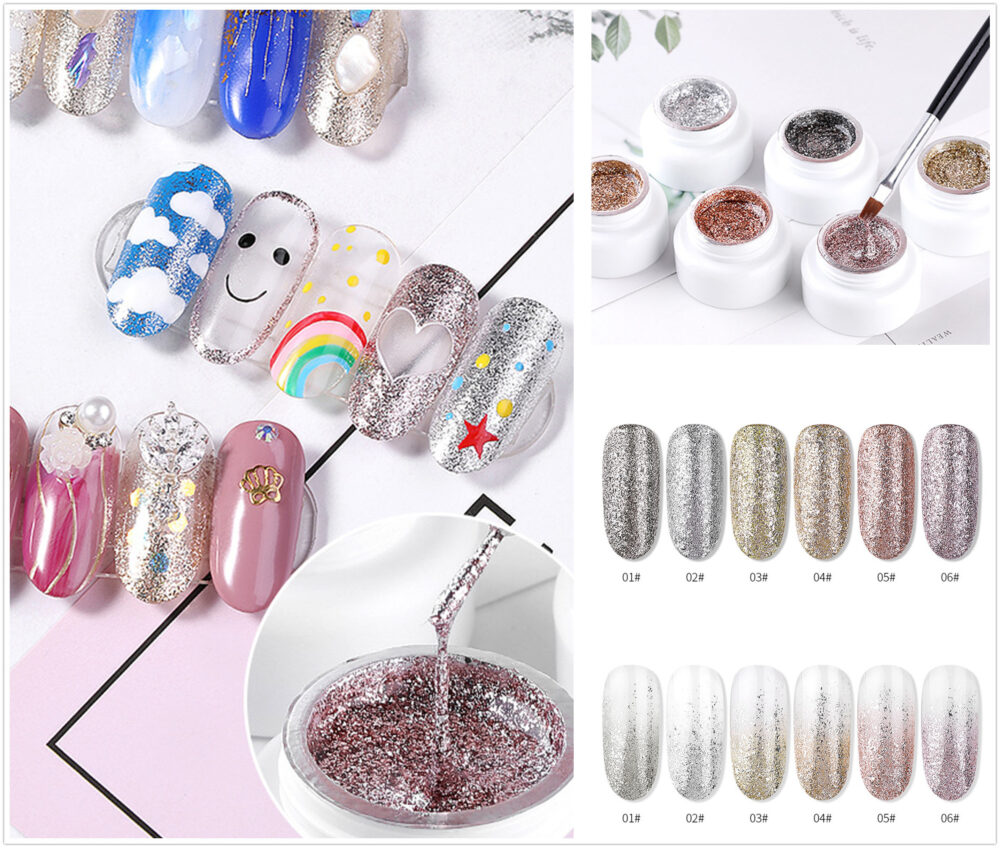 Diamond Gel Gradient Powder Gel , Nail Art Paint, 6 Colors Gel, Tip Diy Nail Flash Gel(7015-49