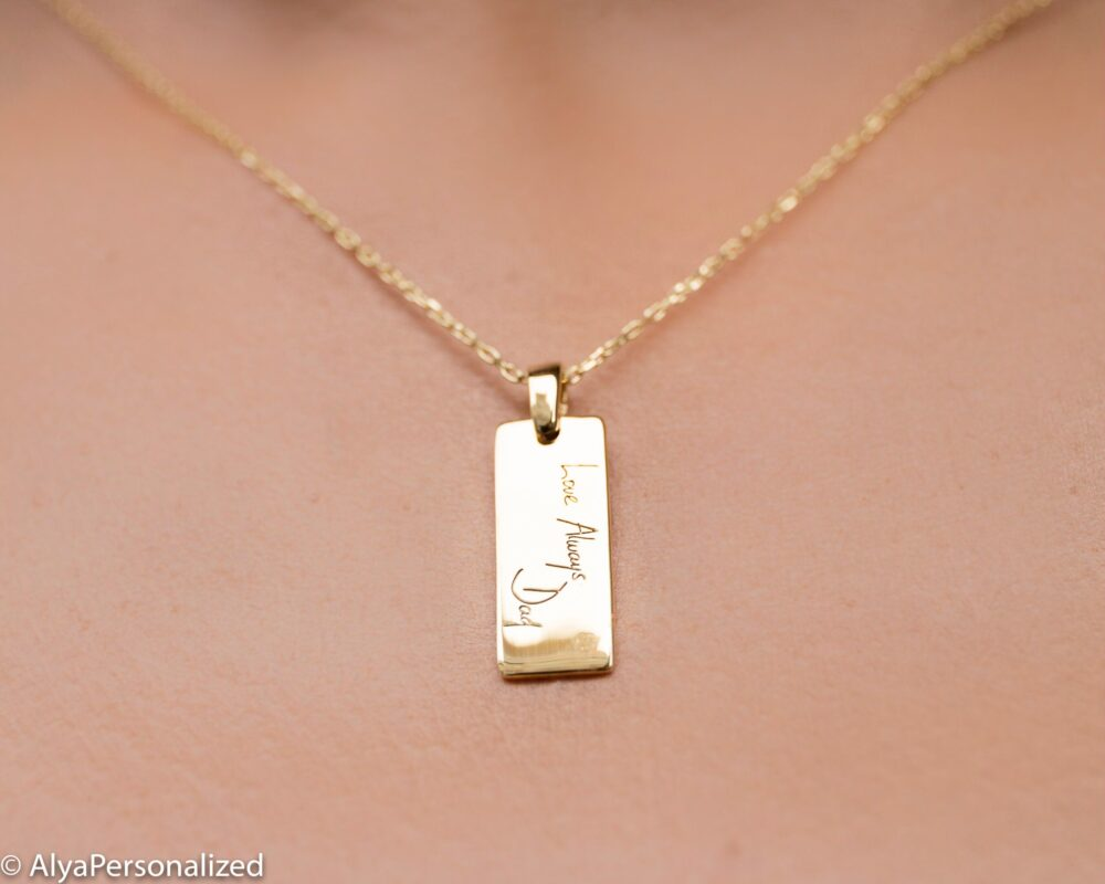 Actual Handwriting Necklace - Personalized Silver Necklace, Bar Mothers Gift For Her
