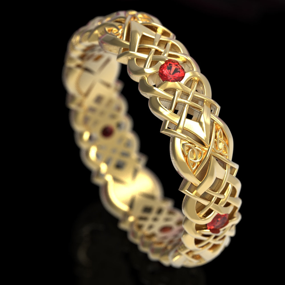 Gold & Ruby Celtic Knot Ring, Heart Wedding Love Band, 10K 14K 18K Platinum, Unique 1361