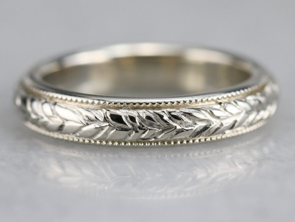 Vintage Engraved Wedding Band, Wheat Pattern White Gold Stacking Unisex Band Wqq3Wftw