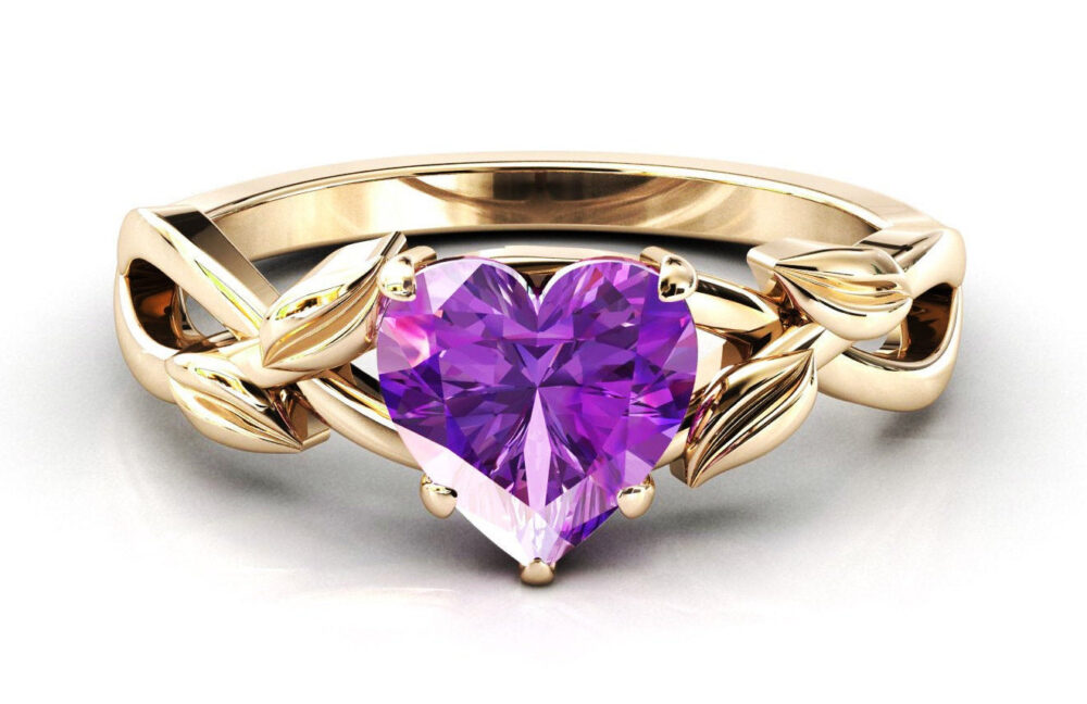 14K Gold Amethyst Engagement Ring Heart Shaped Wedding Art Deco Leaf Style Bridal