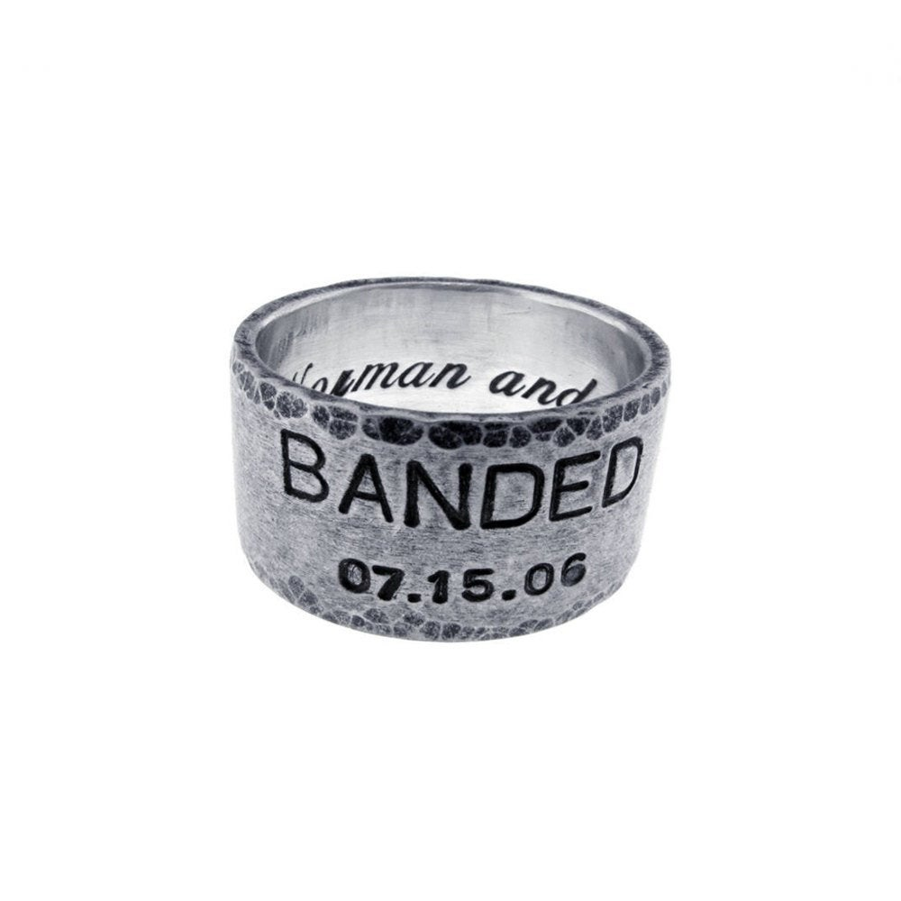 Personalized Wide Band Wedding Ring | 12mm Hand Stamped Date Name Vows Custom Sterling Silver Engraved Artisan Unisex
