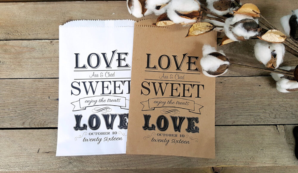 Wedding Favor Bags - Love Sweet Love- Rustic Favors Bags- Candy Buffet Personalized Treat Farm