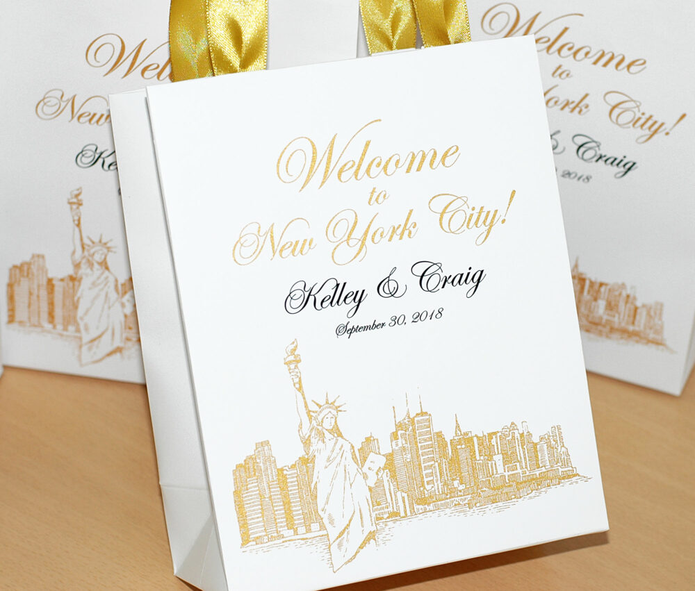 25 New York City Wedding Welcome Bags, Destination Nyc Wedding, Gold Personalized Wedding Favor Bag With Satin Ribbon Handles For Guests