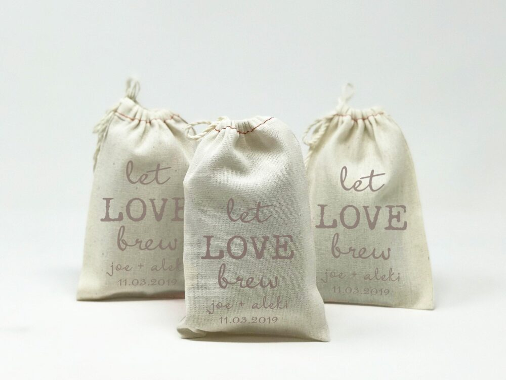 "Wedding Favor Bags, Let Love Brew, Muslin Party Cloth 4""x6"", Perfect For Coffee Or Tea Wedding Favors 13019-Mb04-610"