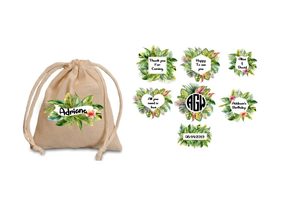 Favor Bags For Tropical Party. Tropical Wedding. Favor Bags. Shower. Birthday. Wedding